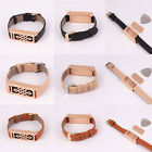 Black/Beige/Brown Leather Wristband w/ Rose Gold Metal Housing For Fitbit Flex