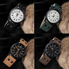 NEW Men's Leather Band Watches Military Sport Analog Quartz Date Wrist Watch