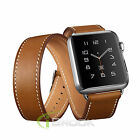 Genuine Leather Band Double Tour Watchband Bracelet Strap For Apple Watch iWatch