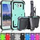 Shockproof Hybrid Rubber Case Cover + Belt Clip Holster For Samsung Galaxy S6