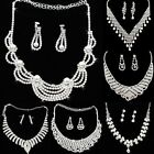 Women Faux Pear/Clear Rhinestone Party Banquet Jewelry Set Necklace + Earrings