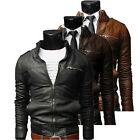Men's Fit Motorcycle Coat PU Leather Jacket for Autumn Winter Fashion Hot  JL