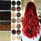 """Mega Thick Full Head Clip In Real Hair Extensions Blonde Brown Curly 17-30"""" YM71"""
