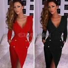 New Sexy Women Casual Long Sleeve Party Evening Cocktail Slim Bodycon Mini Dress