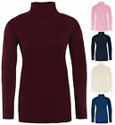 Ladies Long Sleeved Turtle Polo Neck Top New Super Soft Touch Cotton Rich TShirt