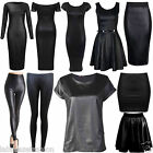 Women's Wet Look Midi Dress Skirt Leggings Ladies Skater Dress plus Size Top