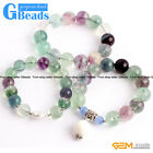 "Handmade Natural Round Fluorite Beads Stretchy Bracelet 7 1/2"" Adjustable GBeads"