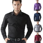 HOT IN 6COLORS Mens Casual Slim Long Sleeve Dress Shirts Button Front Tee Shirts