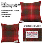 100% Wool Square Cushion Cover Tartan Check Harris Tweed Zip Button Berry Red UK