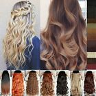 100% Real Natural 3/4 Full Head Clip in Hair Extensions Curly Straight human z3l