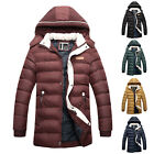 Winter Mens Warm Padded Hooded Trench Coat Long Parka Outerwear Puffer Jackets