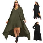 Sexy Womens Solid Long Maxi Asymmetric Casual Cocktail Evening Party Dress Plus