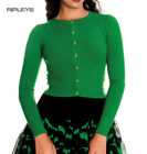 HELL BUNNY Ladies Paloma 50s Plain Cardigan Top Green #2 All Sizes