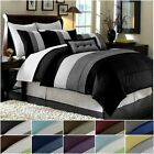 blue comforter king - Chezmoi Collection Luxury Striped Pleated Comforter Bedding Set