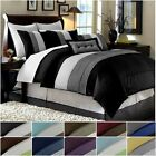 Chezmoi Collection Luxury Striped Pleated Comforter Bedding Set image