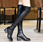 Womens Thick High Over Knee Chunky Platform Heel Black Stretch Leather Boots 2-6