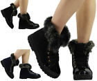 NEW LADIES FUR LINING LOW HEEL NON SLIP SOLE OFFICE WORK ANKLE BOOTS SHOES SIZE
