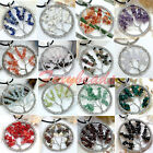 Stylish Colorful Chip Gemstone Beads Circle Life-Tree Pendant for Necklace DIY