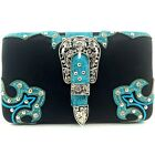 Cowgirl Western Buckle Studded Rhinestone Flat Wallet Clutch Purse