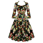 Hearts & Roses London Antique Rose Floral Chintz Retro 1950s Flared Tea Dress
