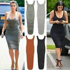 Womens Ladies Celeb Ruched Gather Scoop Neck Midi KIM Party Evening Dress Sexy