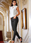 Body Flirt Black Jeans Damenjeans Rockabilly Stretch Hose Schwarz Weiss Denim