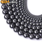 "Natural Stone Black Hematite Loose Beads For Jewelry Making 15"" No Magnetic"