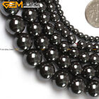 "Natural Round Black Hematite Stone Beads For Jewelry Making 15""  No Magnetic"