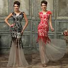 New Sexy Sleeveless Lace Wedding Evening Gown Bridesmaid Formal Prom Party Dress