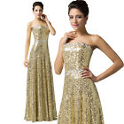 Sequins Long Formal Evening Party Prom Gown Bridesmaid Cocktail Masquerade Dress