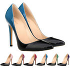 Womens High Heels Dual Color Stiletto Pump Ladies Closed Toe Wedding Party Shoes