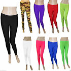 Children's Kids Footless Fancy Dress Girls Lycra Neon Colour Leggings 5-12 Years