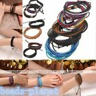 Multilayer Real Leather Rope Surfer Wrap Wristband Cuff Bracelet Bangle Punk Hot