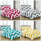 Chezmoi Collection Reversible Chevron Zig Zag Duvet Cover Set with Corner Ties