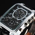 Mens Oblong Big Dial Black White Dual Time Zone Leather Wrist Quartz Watch Gift