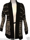 Ladies women's cardigan black stone knitted owl print Shawl one size UK 8-14