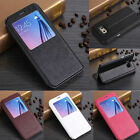 Luxury PU Flip Leather View Window Stand Cover Case For Samsung Galaxy Phone New