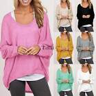 Womens Loose Long Sleeve T-shirt Tee Casual Tops Blouse Pullover Plus Size S-XXL