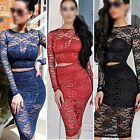 Women dresses Cocktail Evening Party Bodycon Slim Lace Crochet Dress tops+ Skirs