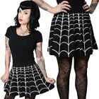 Women's Web White Skater Skirt Flared Gothic Chic Style Kreepsville Fashion