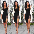Womens Bandeau Bodycon Floral Sheer Lace Evening Party Ladies LBD Midi Dress