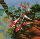 Modern HD Print Animal art oil painting canvas Feng Shui Fish Koi Painting DW38