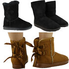 WOMENS LADIES FLAT FUR RIBBON BOW WINTER WARM LOW HEEL ANKLE BOOTS SHOES SIZE