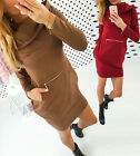 Women Winter Dress Long Sleeve Tops Ladies Hoodie Jumper Pockets Sweater T9033