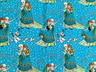 NEW DISNEY Frozen Sisters on teal  : 100% cotton fabric : by the 1/2 metre