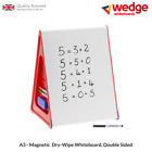 A3 WEDGE WHITEBOARD - Magnetic , Dry Wipe, Double Sided Table Top, Display Board