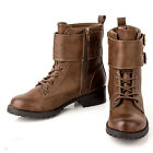 WOMEN SHOES BROWN LACE UP BUCKLE FLAT LOW HEEL ANKLE BOOTS BIKER MOTOCYCLE