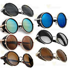 Steampunk Sunglasses Vintage Retro Round 50s Glasses Cyber Goggles Black Brown