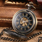 2 Colours Bronze Golden Mens Roman Dial Mechanical Skeleton Chain Pocket Watch