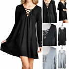 Tunic Dress Solid Deep V Neck Front Cross String Tie Long Sleeve Casual S M L